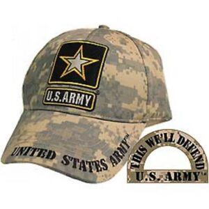 a05568ae744 U.S. Army Camo Digital Camo Camouflage Star Defend Embroidered Cap ...