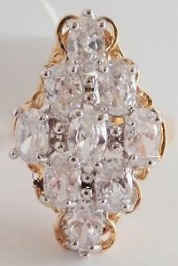 18K-GOLD-EP-4CT-DIAMOND-SIMULATED-CLUSTER-RING-size-7-8-you-choose