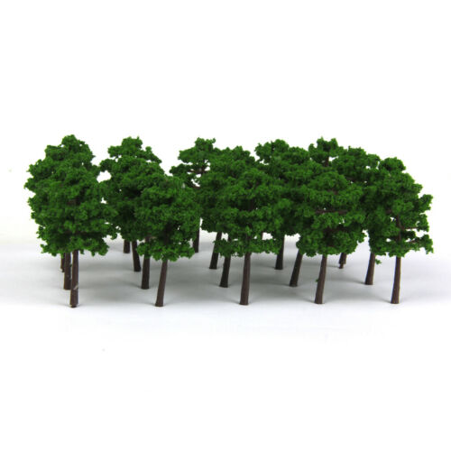 Plastic Model Trees Train Railroad Scenery 1:250 40pcs Dark Green 5cm