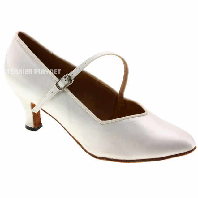 TPS White Satin Latin Ballroom Salsa Custom-made Dance Shoes D541