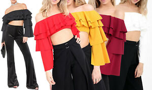 40bf9e37fa1850 Image is loading Frill-Off-Shoulder-Bardot-Crop-Top-Layered-Statement-