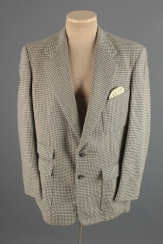 Men's 1950s Fishman Wool Houndstooth Blazer Medium