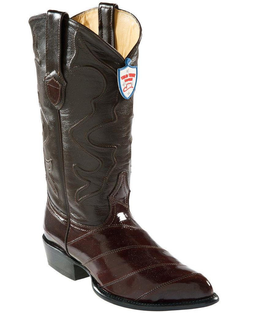 Wild West Brown Genuine Eel Western Cowboy Boot