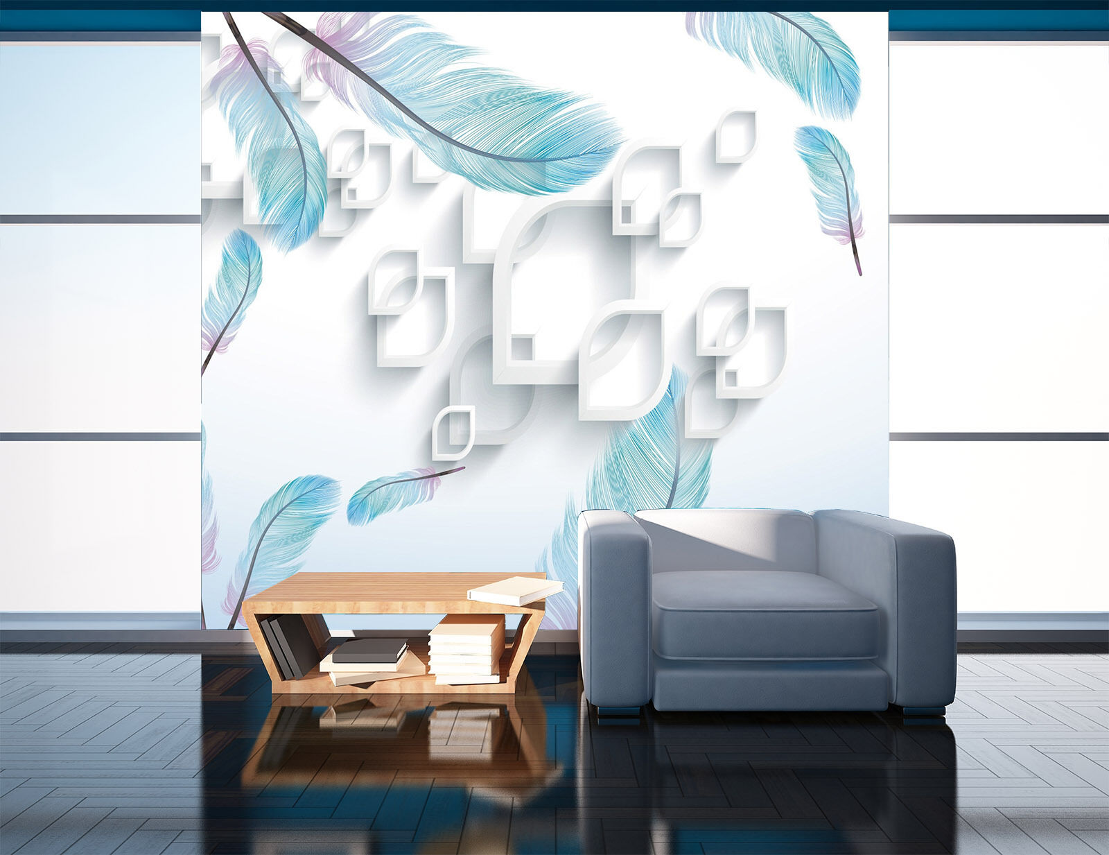 3D White feathers wall Paper Print Decal Wall Deco Indoor wall Mural