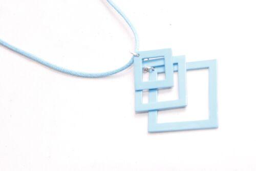 S485 Ladies Vintage Style Bright Blue Thin Necklace w Rectangle Trio Pendants