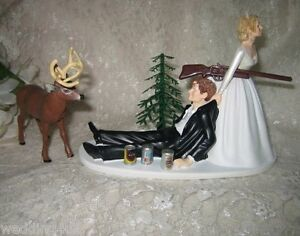 drunk bride wedding cake toppers wedding reception groom cans deer 13762