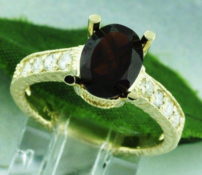2.31ct 14k Solid Yellow gold Natural Oval Garnet Diamond Ring January Birthstone