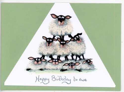 Mark Denman Triangular Sheep Greeting Card Happy Birthday To Ewe