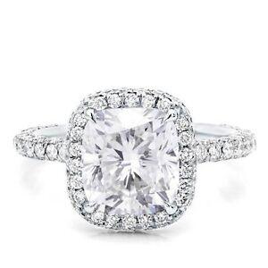 Gia F Vvs1 2 00 Ct Halo Micro Pave Cushion Cut Diamond Engagement Ring 14k Wg Ebay