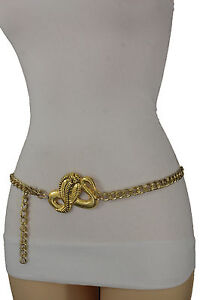 Femme Taille Haute Hip or Grande Ceinture Mode Chaîne Métallique ... c4f57911dc7