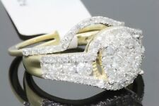 10K YELLOW GOLD 1.34 CARAT WOMENS REAL DIAMOND ENGAGEMENT RING WEDDING BAND SET