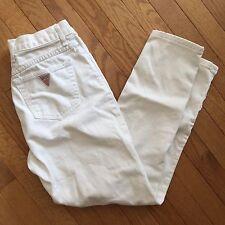 VTG High Waist White Guess Ankle Zip Jeans SZ 4 26 Waist Asap Cropped Mom Jean