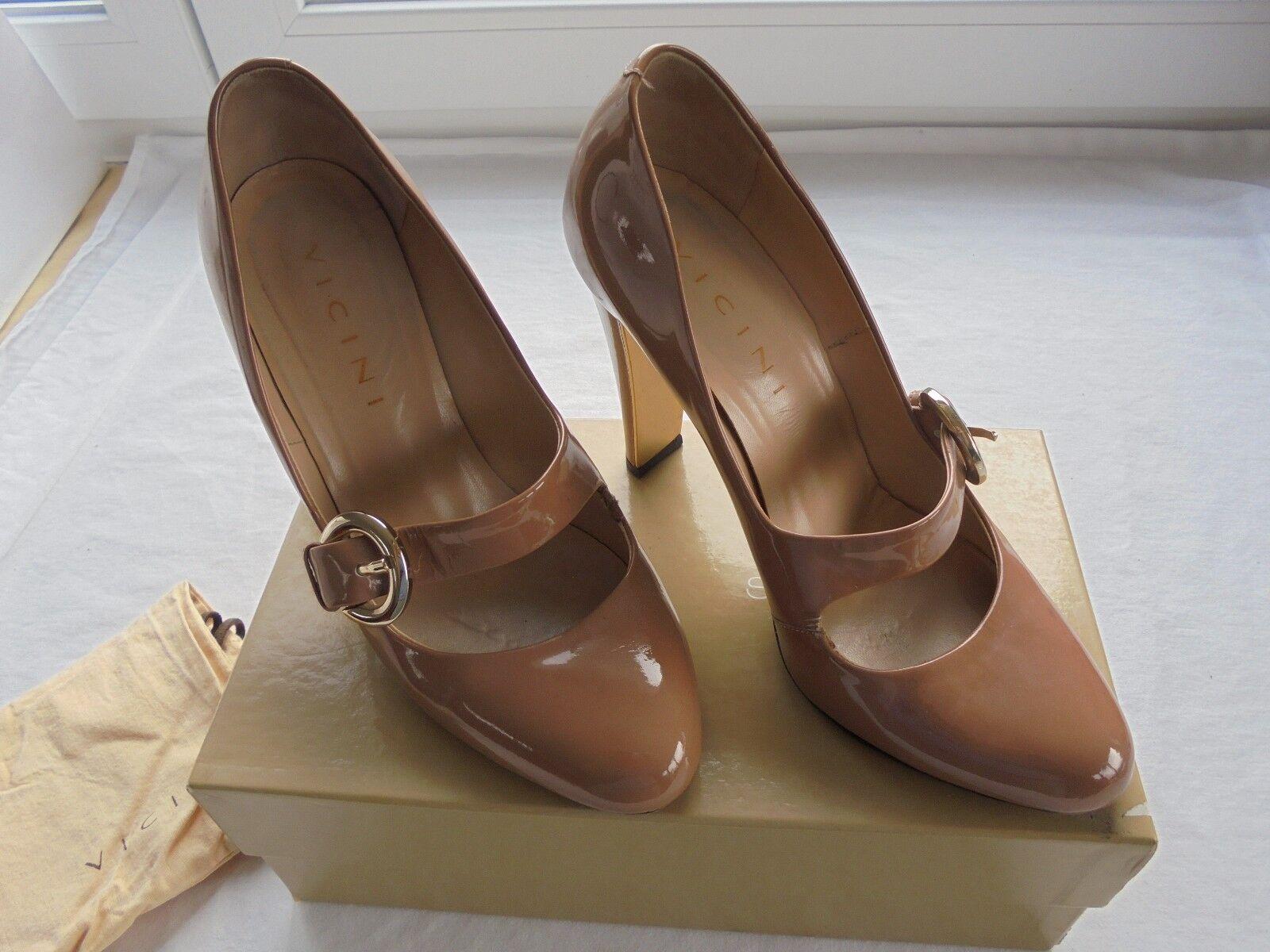 VICINI Nude Lackleder Pumps NP  TOP OVP High Heels Schuhe Gr 39