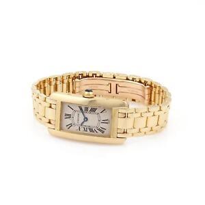 Cartier-Tank-Americaine-1710-18k-Yellow-Gold-Ladies-Quartz-Wrist-Watch