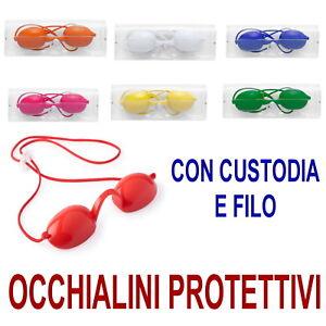 OCCHIALINI-Protettivi-PROTEZIONE-Occhi-LAMPADA-SOLE-Raggi-UV-Occhiali-rossi-blu