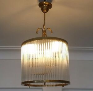 Details About Vintage Art Deco Br Hanging Light Fixture Ceiling Lamp Ship Gl Chandelier