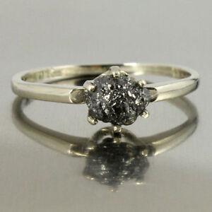Opaque Round Diamond Bridal Ring 3.34 Ct Diamond Black Silver Ring Handmade Fine Jewelry