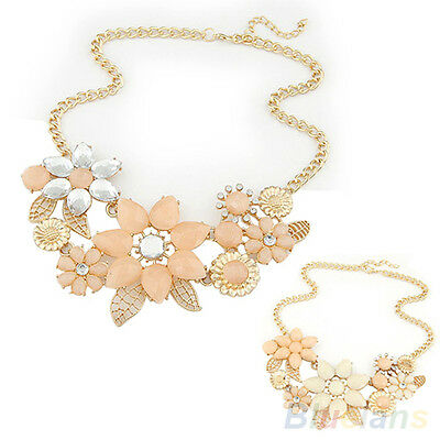Fashion Womens Pink Flower Choker Bib Statement Necklace Collar Chain Pendant