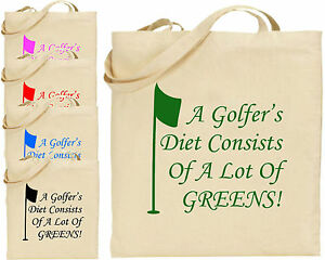 A Golfers Diet Greens Large Cotton Tote Golf Shopping Bag Canvas ... 2e55665507b