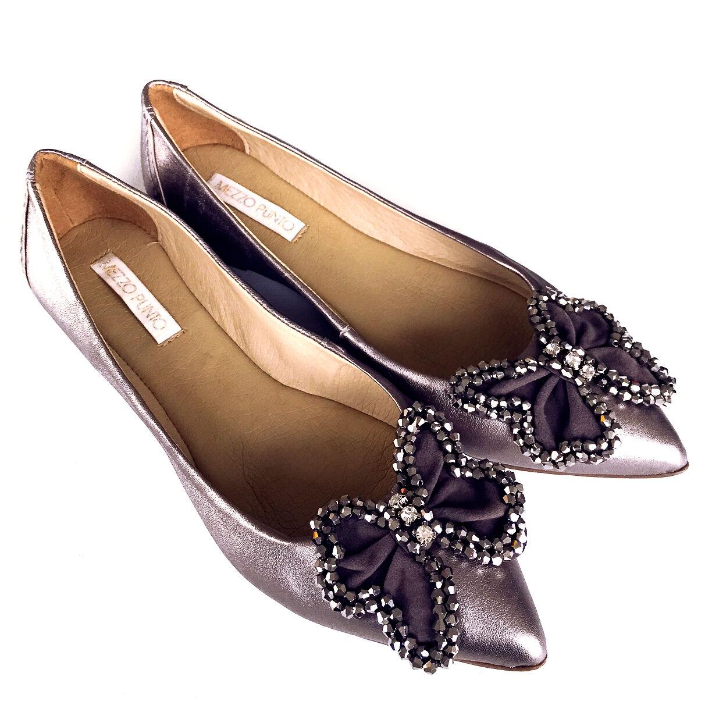 Zapatos Ballerina Zapatos de tacón para para para mujer piel de becerro Zapatos Puntiagudo Dedos de los pies gris Plata Brillo Brasil  excelentes precios