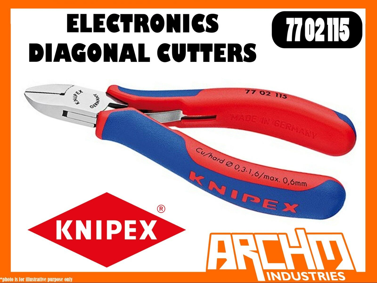 KNIPEX 7702115 - ELECTRONICS DIAGONAL CUTTERS - 115MM - PLIERS CUTTING POLISHED