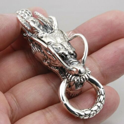 925 Sterling Silver High Details Dragon Pendant Mens Biker Punk Pendant 8J034A