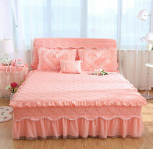 Korean-Princess-Lace-Bed-Skirt-Cover-Bedspread-Full-King-Size-Double-With-Pocket