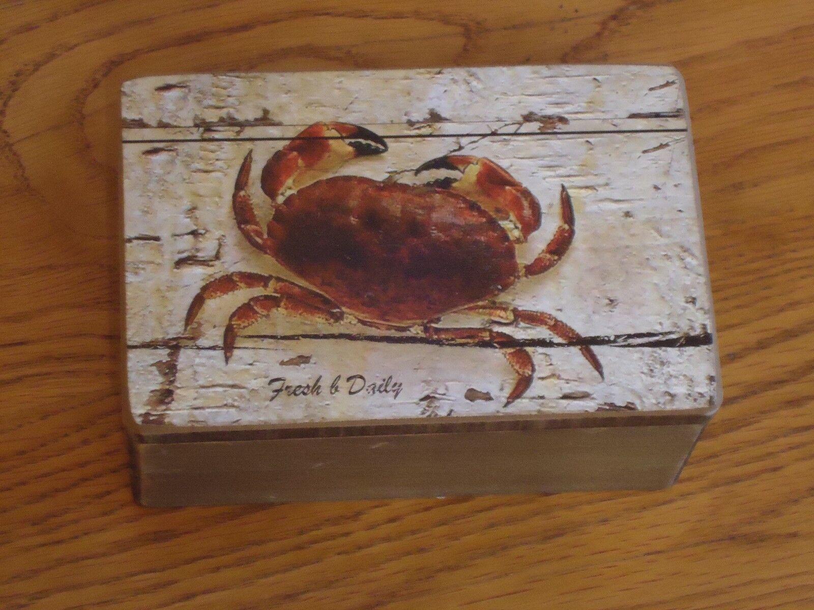 Picture Nautical Trinket Sea Crab Wooden Box Treasure Chest Shell Fish
