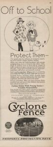 Cyclone Fence Co. Waukegan IL Cleveland OH-Off to School Vintage 1925 Print Ad