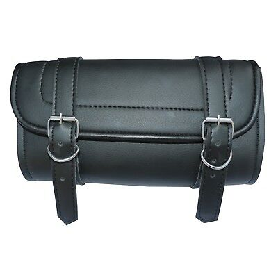 Defy Motorcycle Tool Bag Handlebar Saddle Bag Sissy Bar PU Leather Storage Piped Edges New