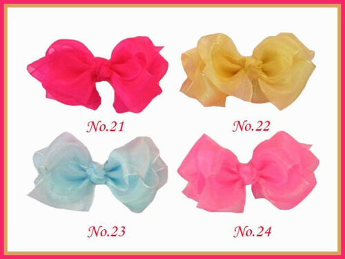 """100 BLESSING Good Girl Hairbow 3.5/"""" Double ABC Organza Hair Bow Clip Wholesale"""