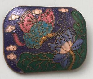 Vintage-cloisonne-Butterfly-lotus-flower-Brooch-in-enamel-on-Metal