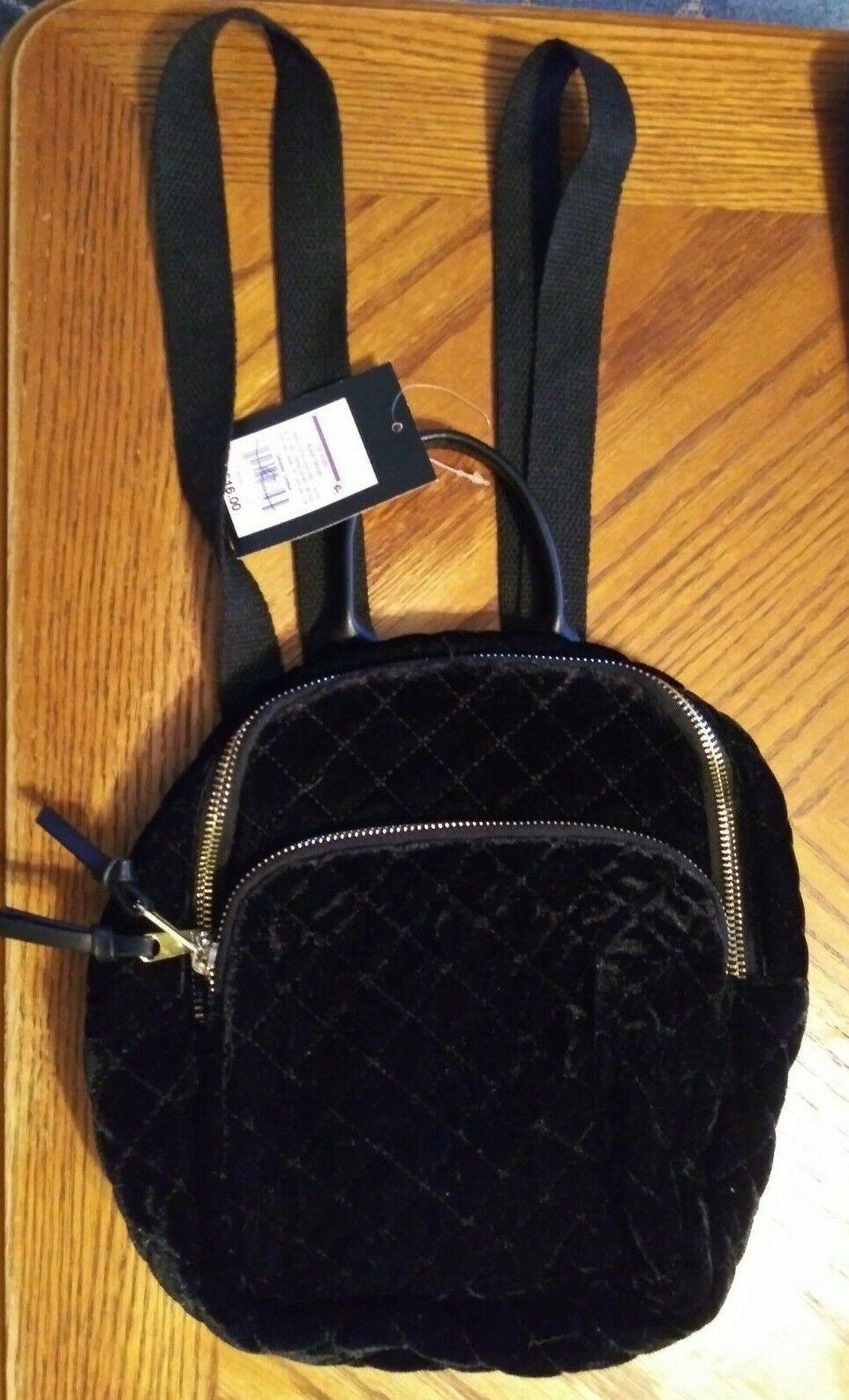 Art Class Black Velvet Front Girls Backpack 2 Zippers for Storage