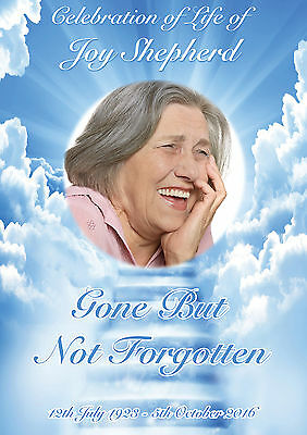 LARGE CELEBRATION OF LIFE PERSONALISED POSTER BANNER FUNERAL BEREAVEMENT LOSS
