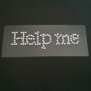 'Help Me' Diamante Cristal Estrás Boda Zapato Pegatina-Color Claro