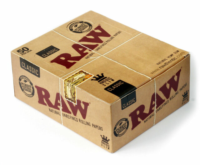 A Pack of 50 Full Box Raw Classic Kingsize Unbleached Slim Rolling Papers