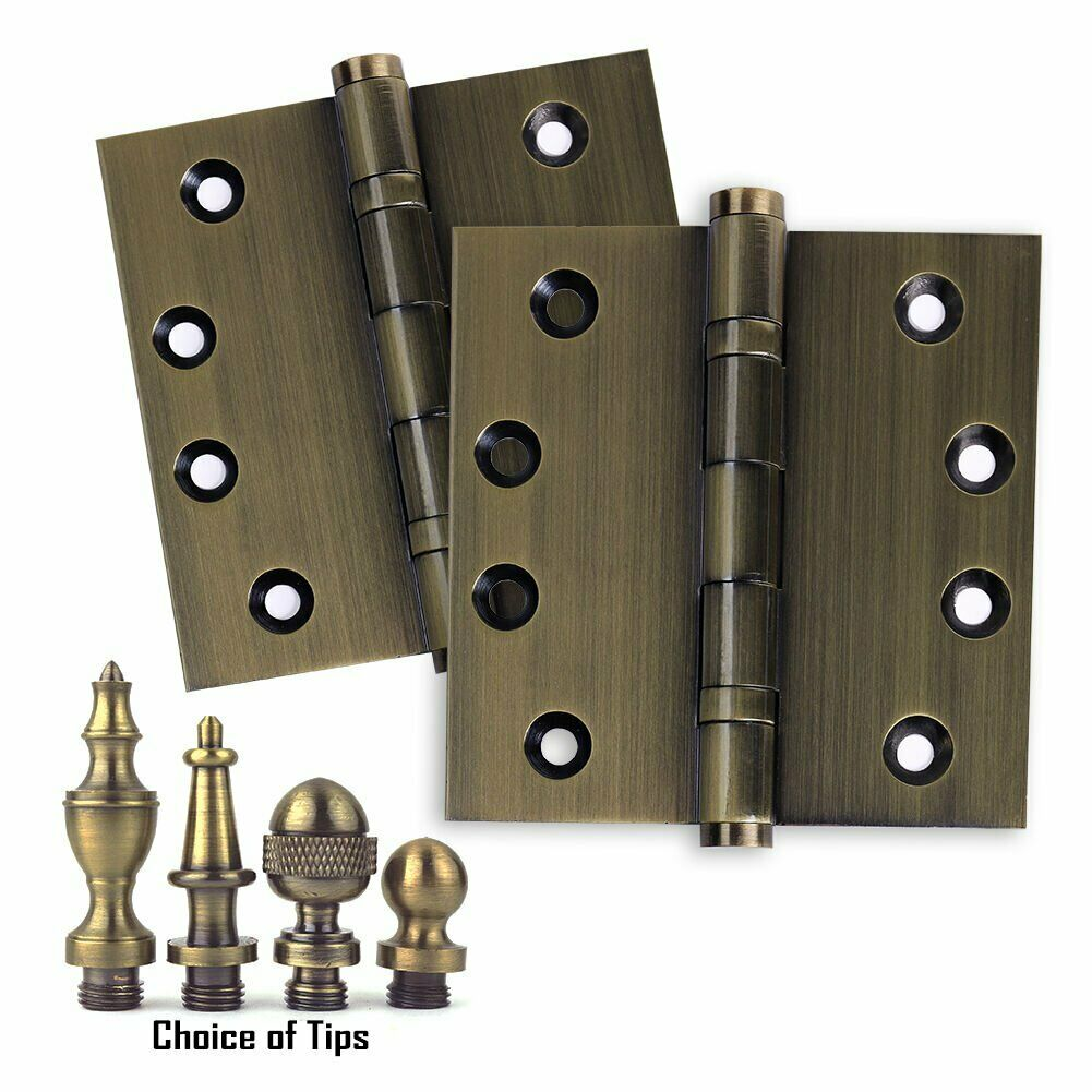 Door Hinges 4 x 4 Solid Brass Ball Bearing Antique Brass With Tips - Set of 2