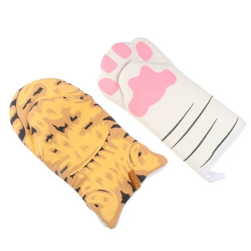 Cat Paw Oven Mitts Long Cotton Baking Insulation Gloves Microwave Heat ResisHFUK