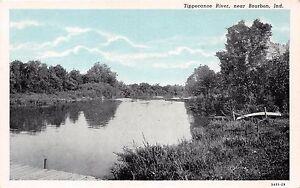 BOURBON-INDIANA-TIPPECANOE-RIVER-CURTEICH-PRE-LINEN-POSTCARD-1930s