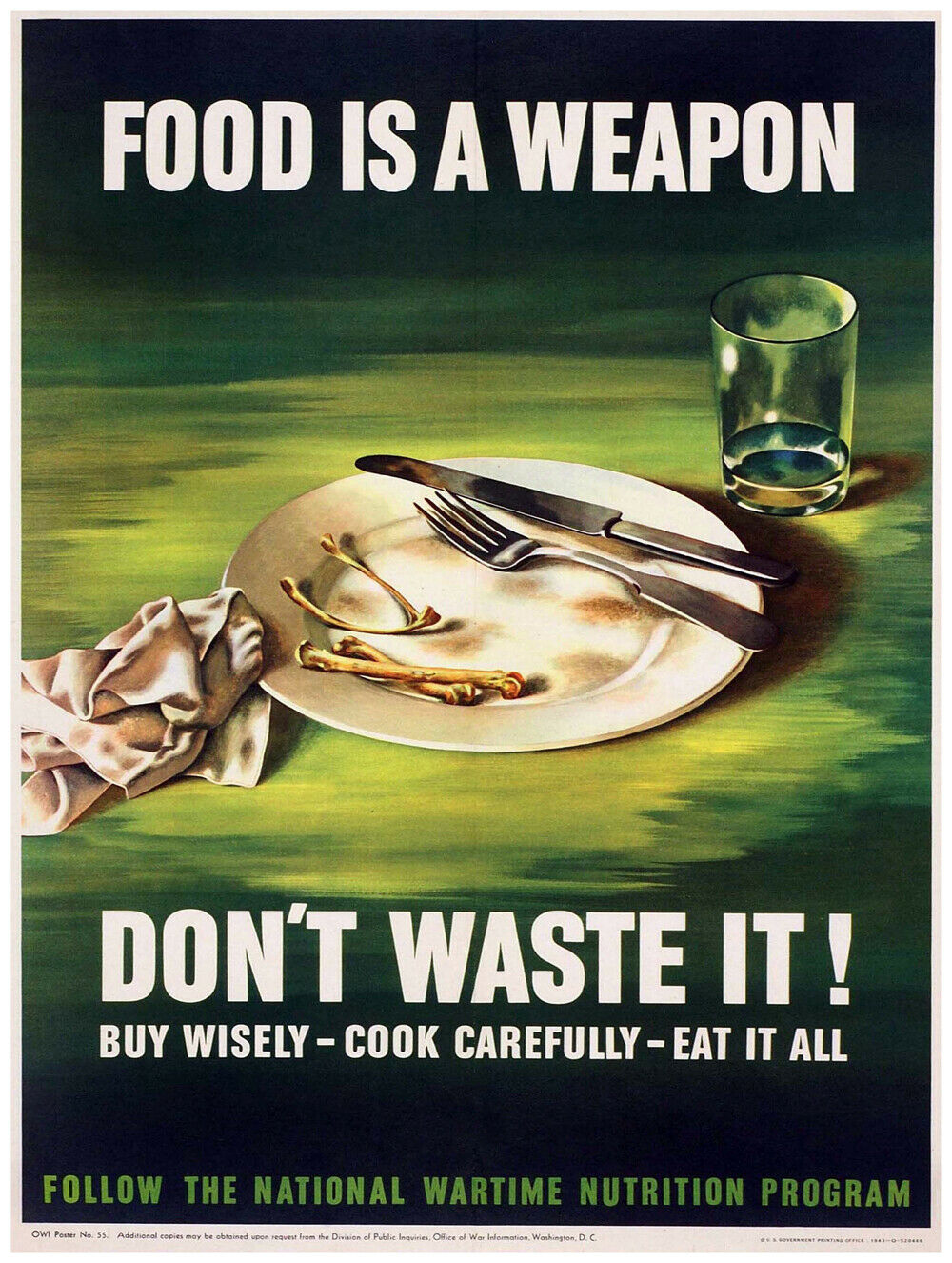 7642.Decoration Poster.Home Room art design print.Food is a weapon.Don't waste