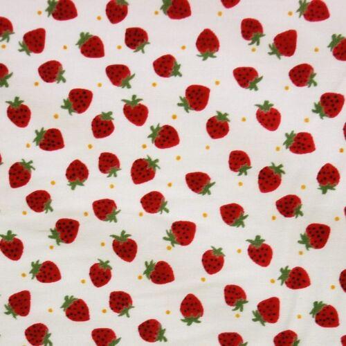 Marfil 100/% Algodón Rojo Fresas Polka Dot De Tela
