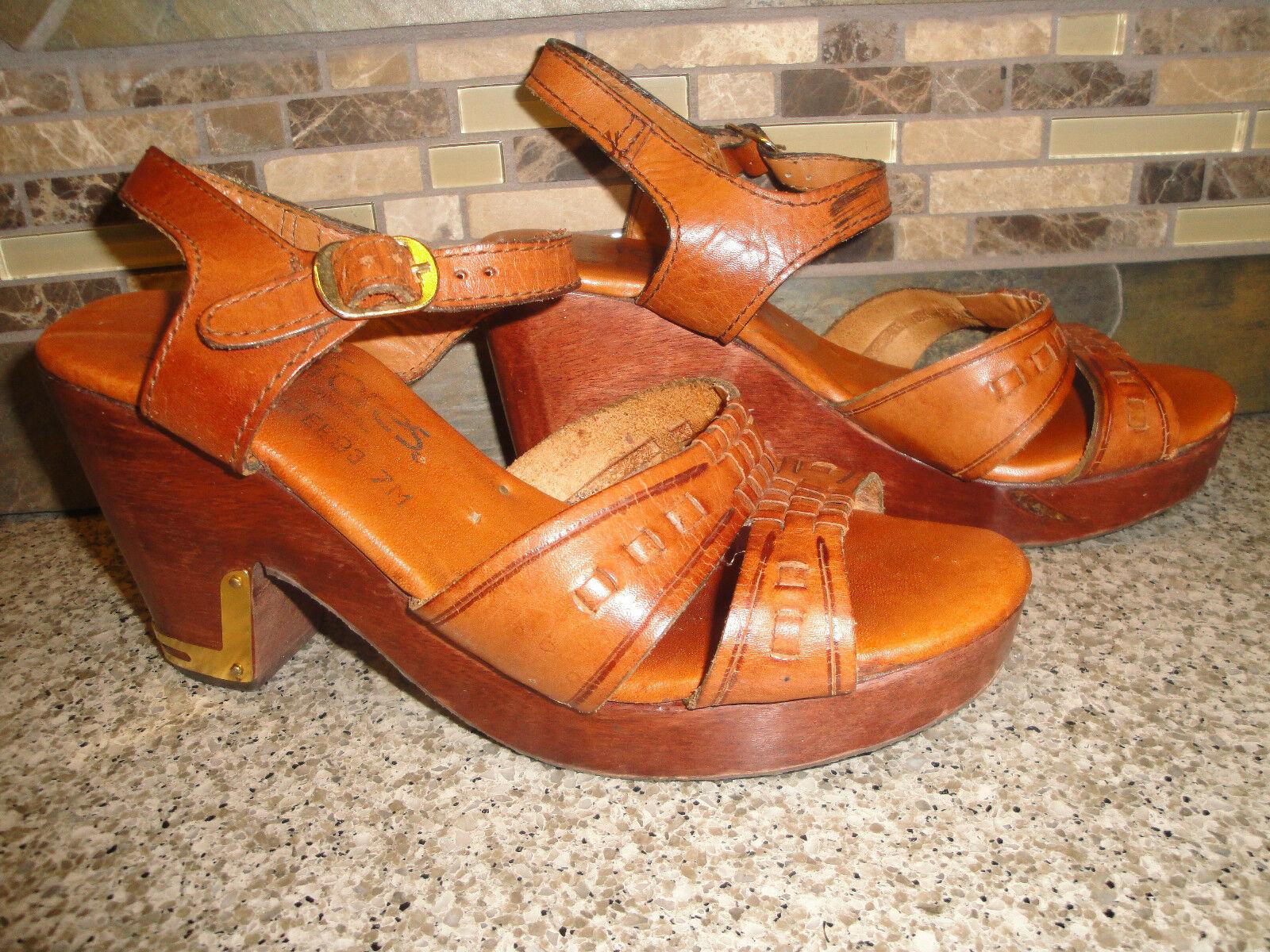 Vintage FANFARES Damenschuhe Sz 7M Brazil Braun Leder Schuhes Wood 3.5