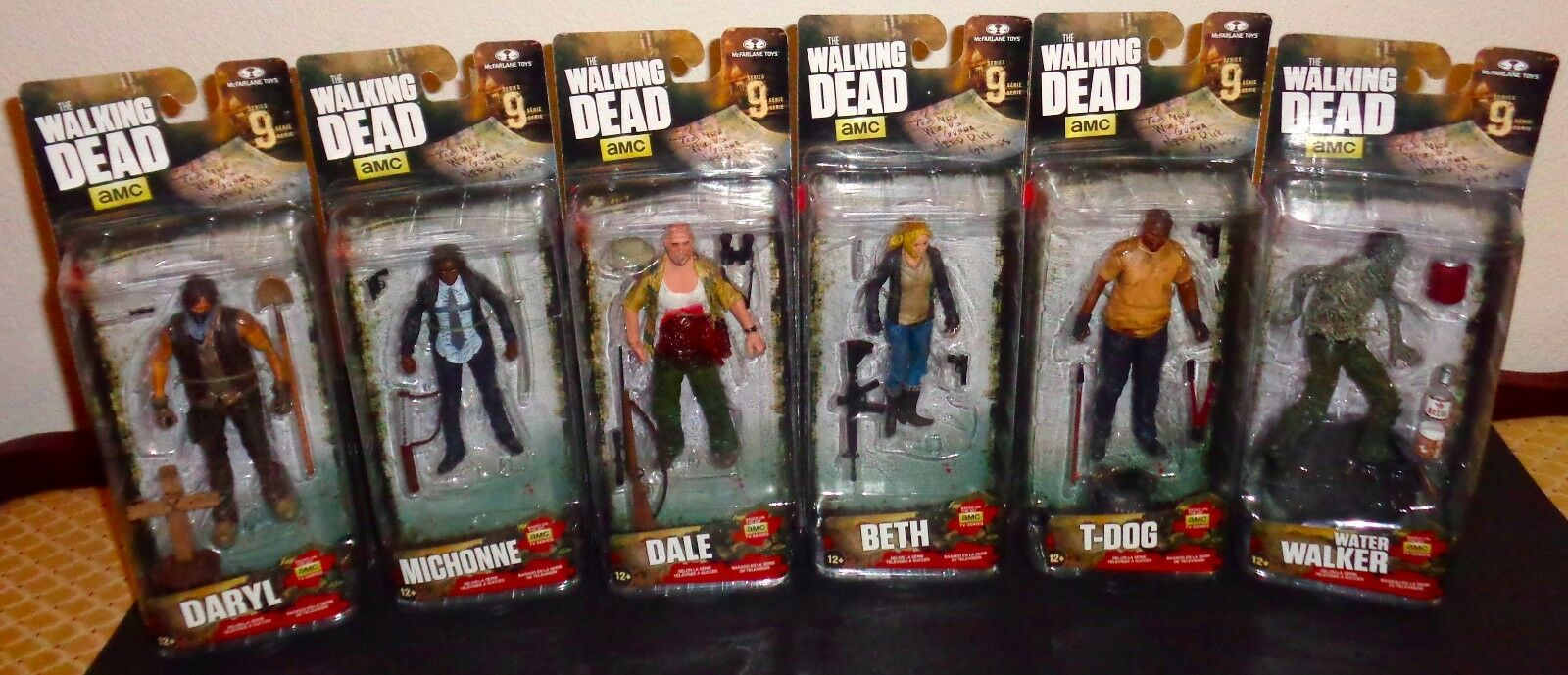 THE WALKING DEAD SERIES 9 FIGURE SET T-DOG BETH DARYL MICHONNE DALE WATER WALKER