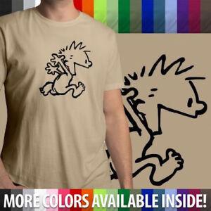 Calvin-amp-Hobbes-Calvin-Running-Naked-Unisex-Mens-Crew-Neck-100-Cotton-T-Shirt