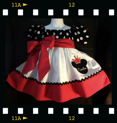 Details about  /Custom Made Minnie Mouse Dress classic Red crownApplique princess 12M-12yrs name