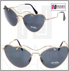 081ef0a60540 MIU MIU SCENIQUE Cat Eye 55R Black Gold Cat Eye Metal Sunglasses ...