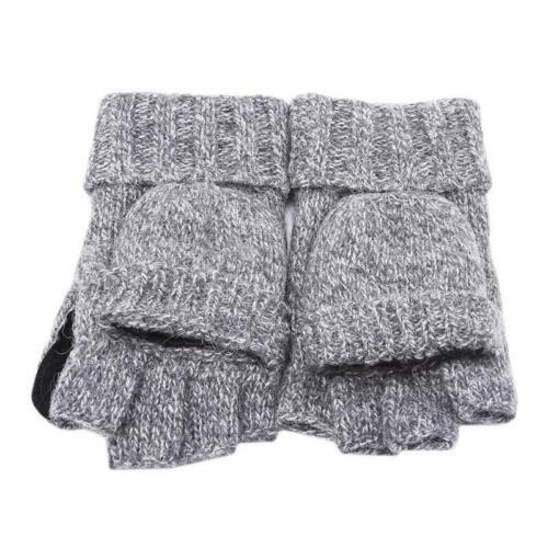 Men Winter Wool Acrylic Knit Flip Top Gloves Half Finger Warm Mitten Thermal LA
