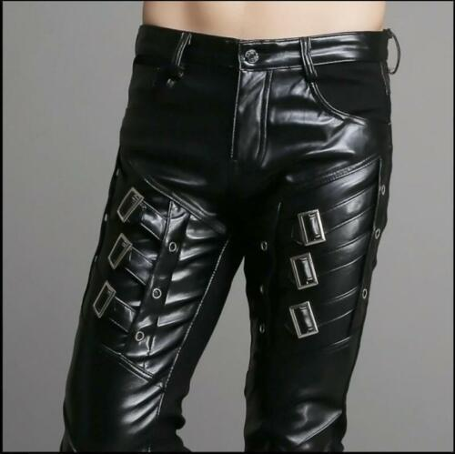 Hot Buckle Gothic Motorcycle Mens Faux Leather skinny  Trousers casual Pants @MG