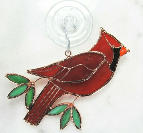 Cardinal Sun Catcher Hand Crafted Stained Glass Home Yard /& Garden Decor