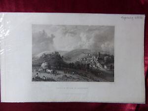 Antique-engraving-of-CASTLE-amp-VILLAGE-CARISBROOK-ISLE-OF-WIGHT-c1830-Art-print